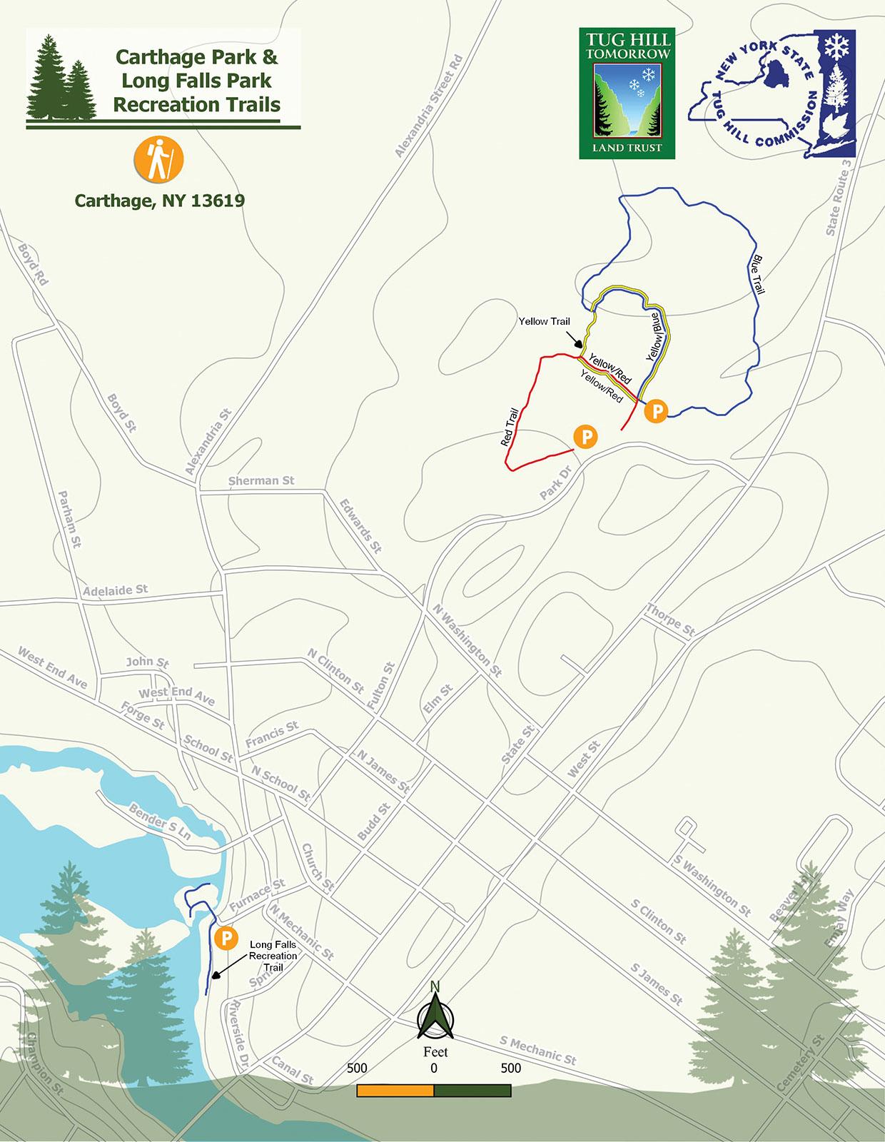 Carthage Trail & Long Falls Park Trails Map
