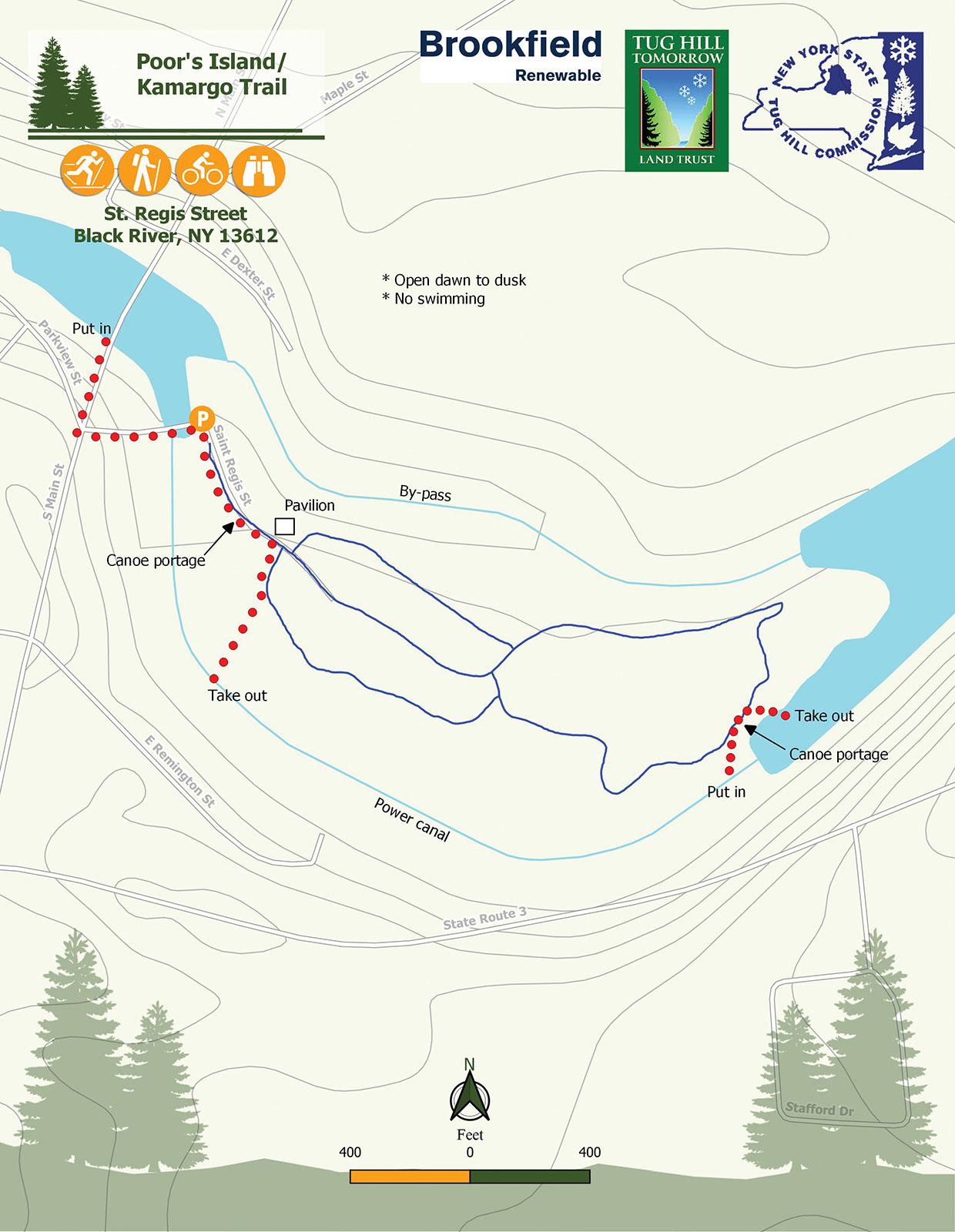Kamargo Trail/Poors Island Trail Map